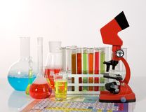 Laboratory ware and microscope Royalty Free Stock Image