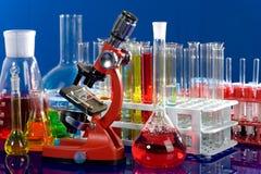 Laboratory ware and microscope Stock Image
