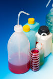 Laboratory Wash Bottles for science experiment, dispensing bottl Stock Photography