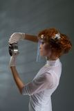 Laboratory woman examining detail Royalty Free Stock Photo
