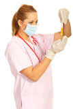 Laboratory woman holding tubes Stock Photography