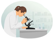 Laboratory. Woman scientist is looking through a microscope. Laboratory and equipment Royalty Free Stock Images