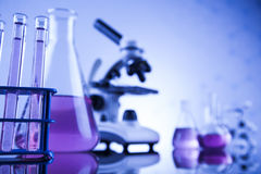 Laboratory work place with microscope and glassware Royalty Free Stock Photo