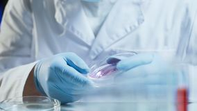 Laboratory worker conducting research testing consistency of biological material. Stock video stock photos