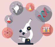 Laboratory workspace and science equipment concept. Flat  illustration Royalty Free Stock Images