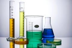 Laborausstattungsbecher-Reagenzgläser Lizenzfreies Stockfoto