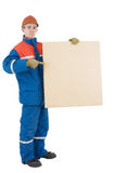 Laborer with box. Laborer on the helmet with box on a white background Royalty Free Stock Photos