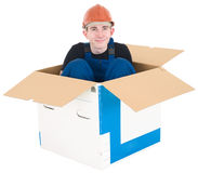Laborer in box Stock Images
