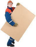 Laborer with box Royalty Free Stock Images