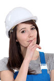 Laborer with cunning plan Stock Photography