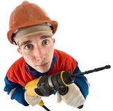 Laborer with drill. Laborer on the helmet with drill on a white background Royalty Free Stock Photo