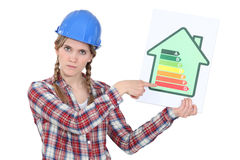 Laborer with energy efficiency chart Royalty Free Stock Images