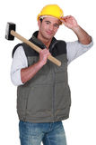 Laborer with hammer Stock Photos