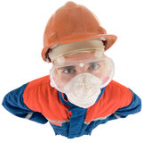 Laborer on the helmet and respirator. On a white background Stock Photos