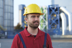 Laborer outside a factory working Royalty Free Stock Photography
