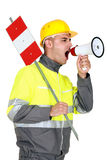 Laborer screaming Stock Photography