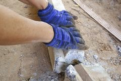 Laborer under construction. A Laborer under construction stock image