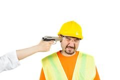 Laborer under threat of death, asking to be work isolated on white Royalty Free Stock Images