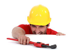 Laborer with vernier calipers Royalty Free Stock Images