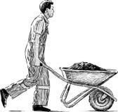 Laborer with a wheelbarrow. Vector sketch of a man at a work Stock Photos
