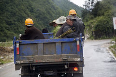 Laborers going to work. By truck in China royalty free stock photos