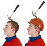 Laborers with hammer Royalty Free Stock Image