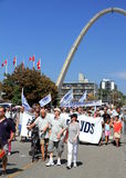 Laborers Marching in Toronto. People marching in Toronto at the annual Labor Day Parade royalty free stock photos
