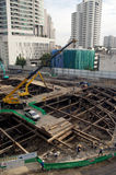 Laborers work at the construction site of a building. Laborers work at the construction site of a building in Bangkok,Thailand royalty free stock photo