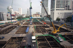 Laborers work at the construction site of a building. Laborers work at the construction site of a building in Bangkok,Thailand royalty free stock photography