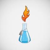 Laborflasche auf Lager auf einem hellen Hintergrund Stockfoto
