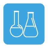 Laborflaschenikone, einfache Art lokalisiert für Zahnmedizinklinik Lineares Zahnarztlogo Stockfoto