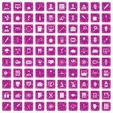 100 Laborikonen stellten Schmutzrosa ein Lizenzfreie Stockfotografie