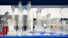 Laborrohre von verschiedenen Größen sind im Regal stockfoto