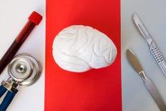 Laborversuchrohr mit Blut und Stethoskop auf weißem Hintergrund, Modell des Gehirns auf Rot, Skalpell zwei auf Grau Konzeptfoto v Lizenzfreie Stockfotos