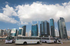Labour buses in the Dubai Stock Images