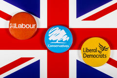 Labour, Conservatives and Liberal Democrats Stock Image