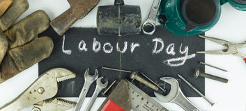 Labour day background. Top view of many tools Royalty Free Stock Photography
