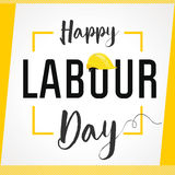 Labour Day card. Happy Labour Day 1st may lettering with helmet vector background. International Workers day illustration for greeting card Royalty Free Stock Image