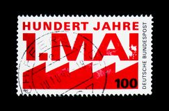 Labour day, Centenary of Labour Day serie, circa 1990. MOSCOW, RUSSIA - NOVEMBER 26, 2017: A stamp printed in Federal Republic of Germany shows Labour day stock images