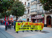 Labour day demonstration in Vitoria-Gasteiz Royalty Free Stock Photo