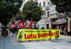 Labour day demonstration in Vitoria-Gasteiz Royalty Free Stock Photography