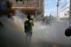 Labour Day Honduas Tegucigalpa March 2018. Police repression tear gas used to confront workers on their labour day celebration Tegucigalpa Honduras Stock Photos