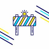 Labour day icon with light background with yellow and blue theme. Icon. For web design and application interface, also useful for infographics. Vector Stock Illustration
