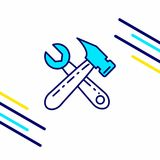 Labour day icon with light background with yellow and blue theme. Icon. For web design and application interface, also useful for infographics. Vector Royalty Free Illustration