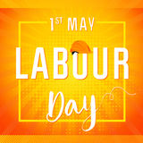 Labour Day lettering card. Happy Labour Day 1st may vector lettering with helmet on radial flesh background. International Workers day illustration for greeting Stock Images