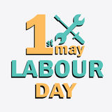 Labour Day logo concept with wrenches. International Workers day. 1  May Day lettering Royalty Free Stock Photos