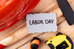 Labour Day paper and tools. royalty free stock photos