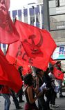Labour Day parade. QUITO, ECUADOR - MAY 01: Supporters of the Ecuadorian communist party in the parade on International Workers Day, also known as Labour Day, on Royalty Free Stock Image