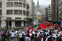Labour Day parade. QUITO, ECUADOR - MAY 01: People marching in the parade on International Workers Day, also known as Labour Day, on may 01, 2012 in Quito Stock Photo