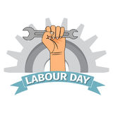 Labour day poster with clenched fist. Vector happy labour day poster or banner with clenched fist royalty free illustration